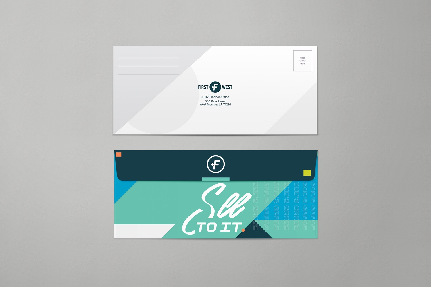 Return envelope for  pledge card and capital campaign materials package by Abstract Union