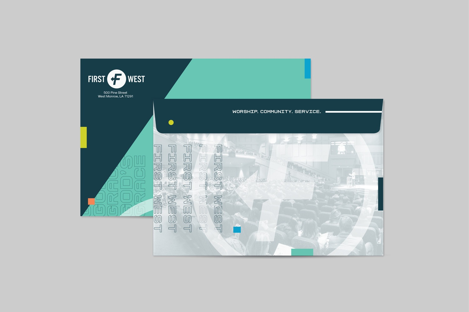 Envelope for capital campaign materials package, modern design, nondenominational church design by Abstract Union