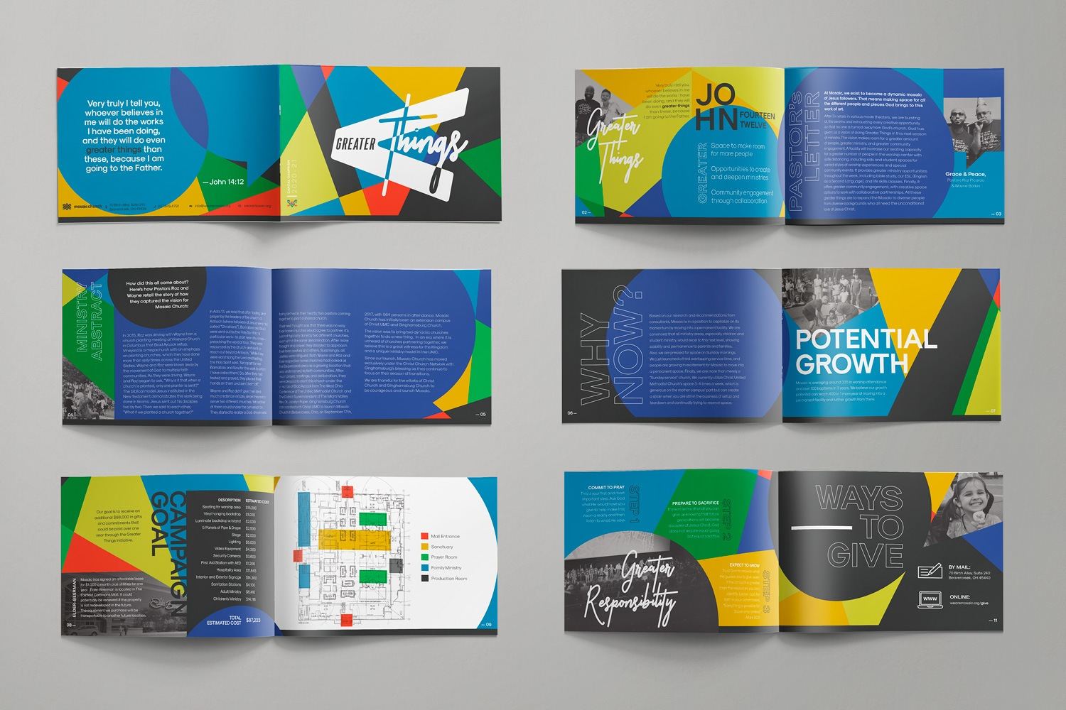 Colorful 12-page church capital campaign statement for Mosaic Church by Abstract Union