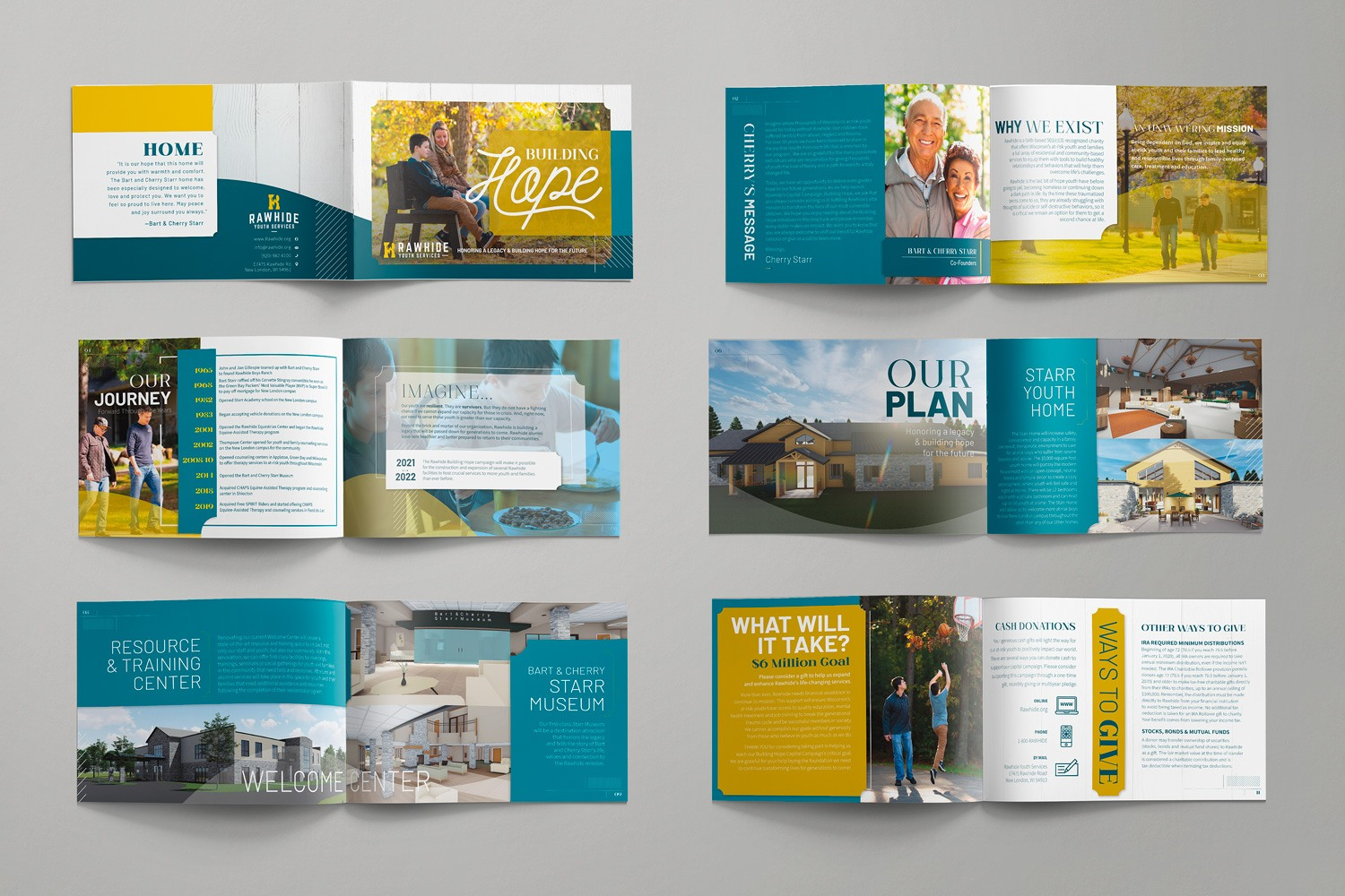 12-Page Multipage case statement for nonprofit capital campaign for Rawhide Inc. by Abstract Union