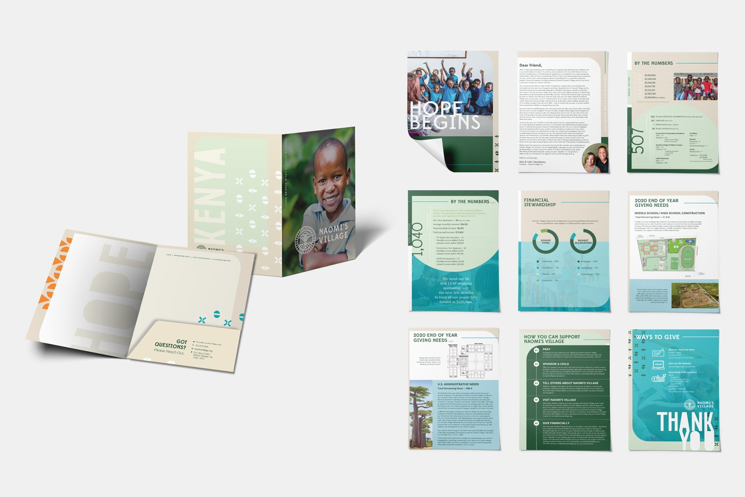 Nonprofit capital campaign case statement materials, folder and document pages design by Abstract Union