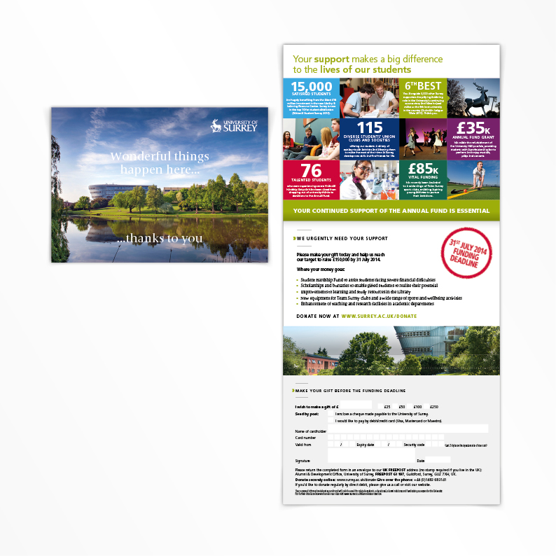 University of Surrey Alumni direct mail