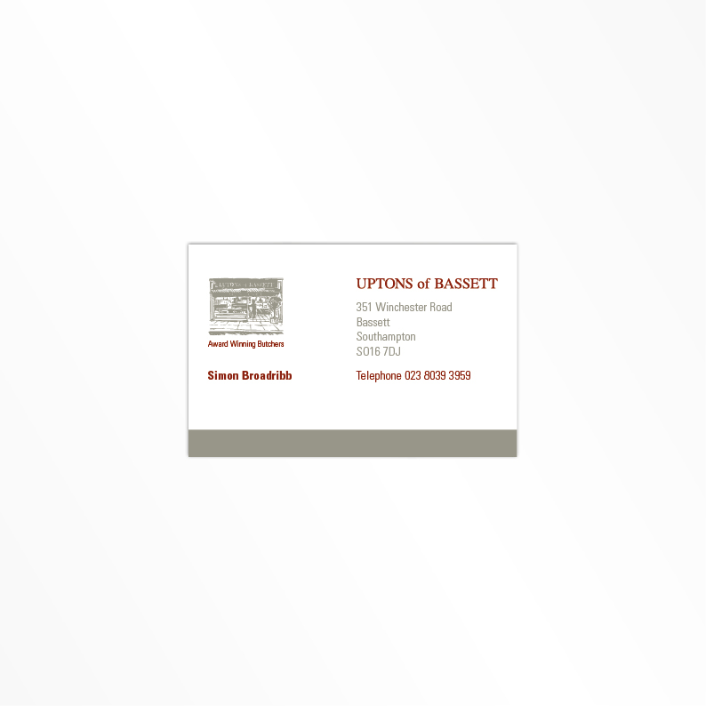 Uptons of Bassett business card