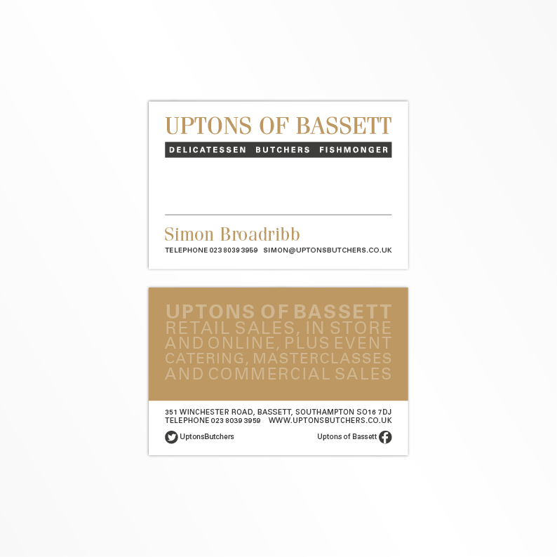 Uptons of Bassett new business card