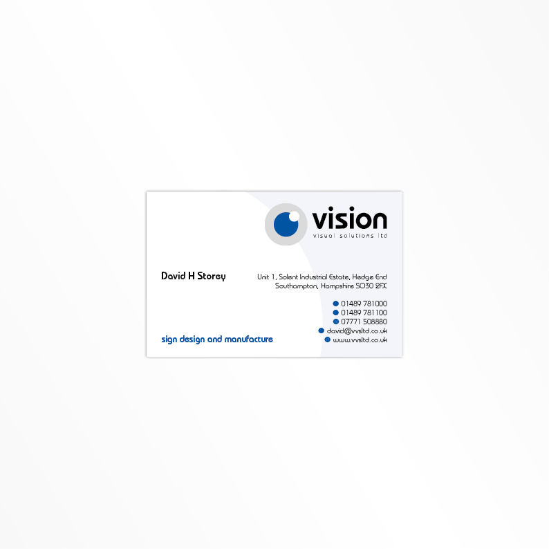 Vision Visual Solutions Ltd business card