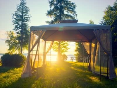 Lake Front Gazebos with Sunset Lake View