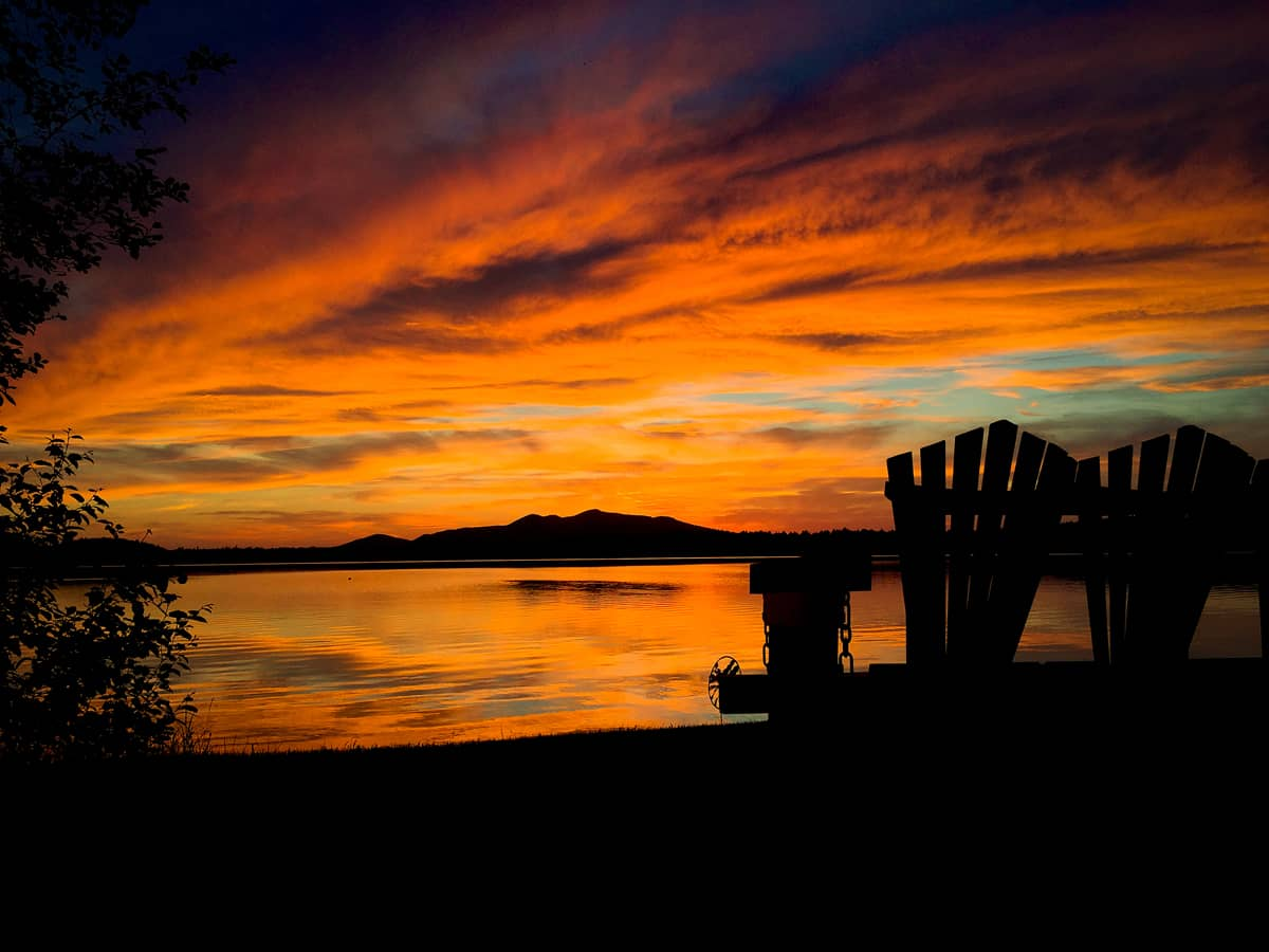Fall sunsets at the Lake Clear Lodge & Retreat