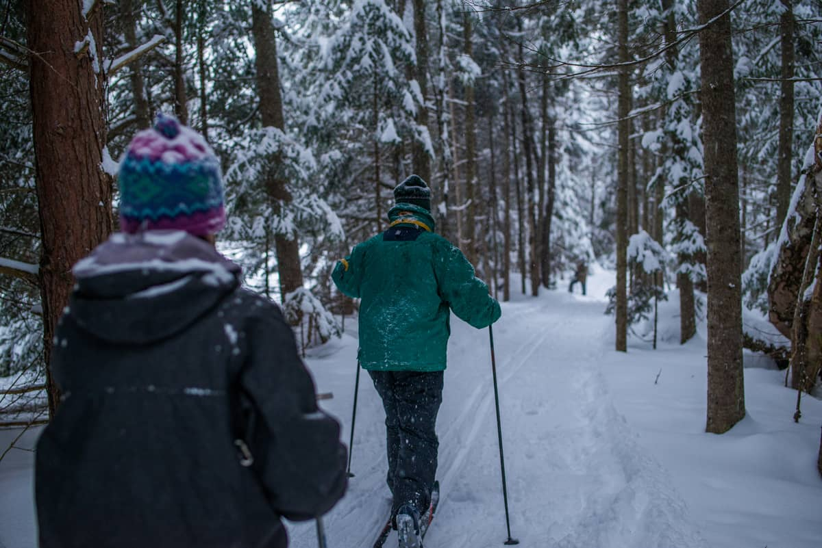 Cross-country skiing and snowshoeing in the Adirondacks at the Lake Clear Lodge & Retreat