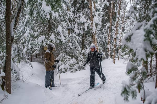 Cross-Country Skiing & Snowshoeing on Private Nature Trails at the Lake Clear Lodge & Retreat
