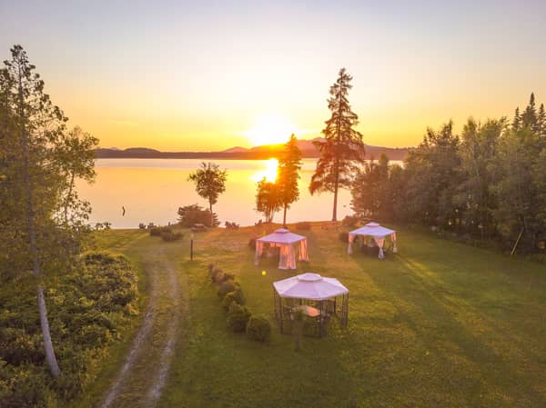 3-acre lake lawn with sunset view