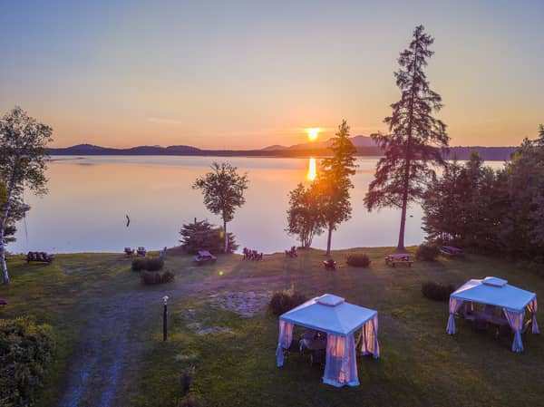 Private Beach with Mountain-Lake Sunset View & Gazebos at the Lake Clear Lodge