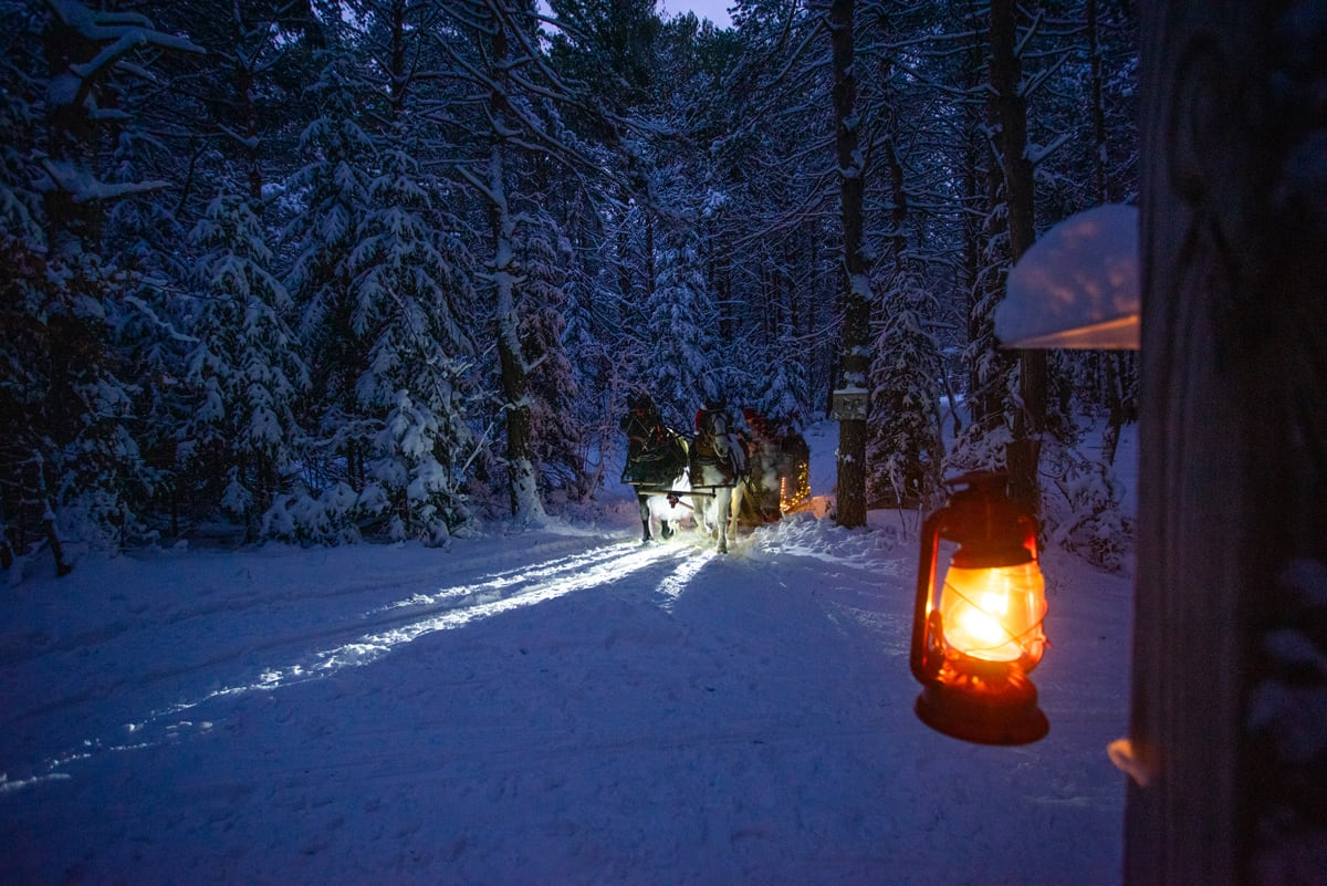 Lantern-lit Sleigh Rides at the Lake Clear Lodge