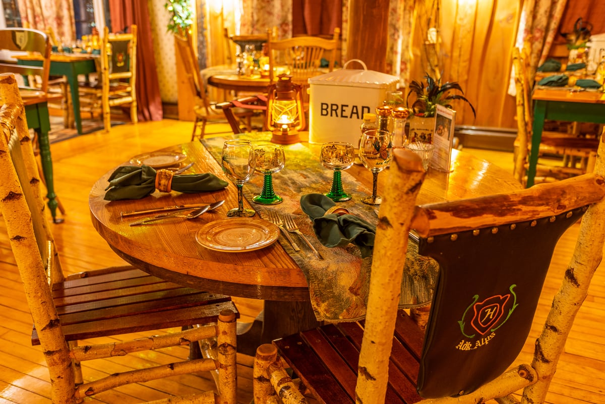 1920s Speakeasy Table at the Lake Clear Lodge