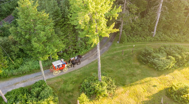 Aerial of Percheron Draft Horses pulling an 1850s Henderson Stagecoach at the Lake Clear Lodge & Retreat