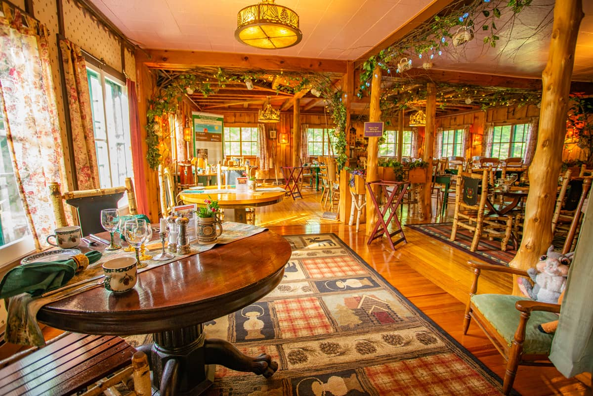 1886 Stagecoach Dining Room with Adirondack Decor at the Lake Clear Lodge in 2019