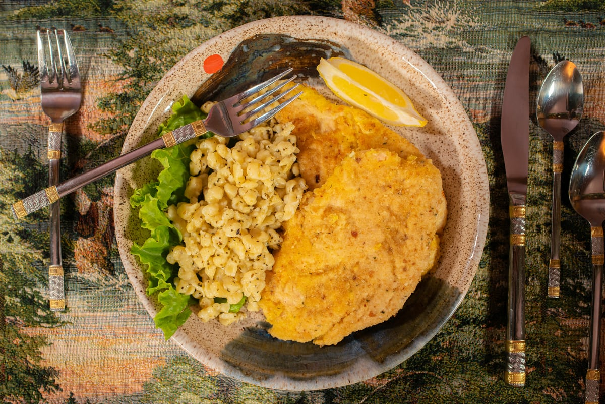 Chicken Schnitzel with a side of Spaetzle Noodles at the Adirondack Alps Restaurant at the Lake Clear Lodge & Retreat.