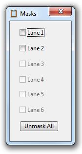 Lane masks window
