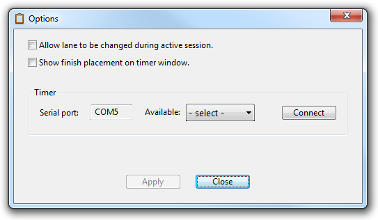PDT# Options window