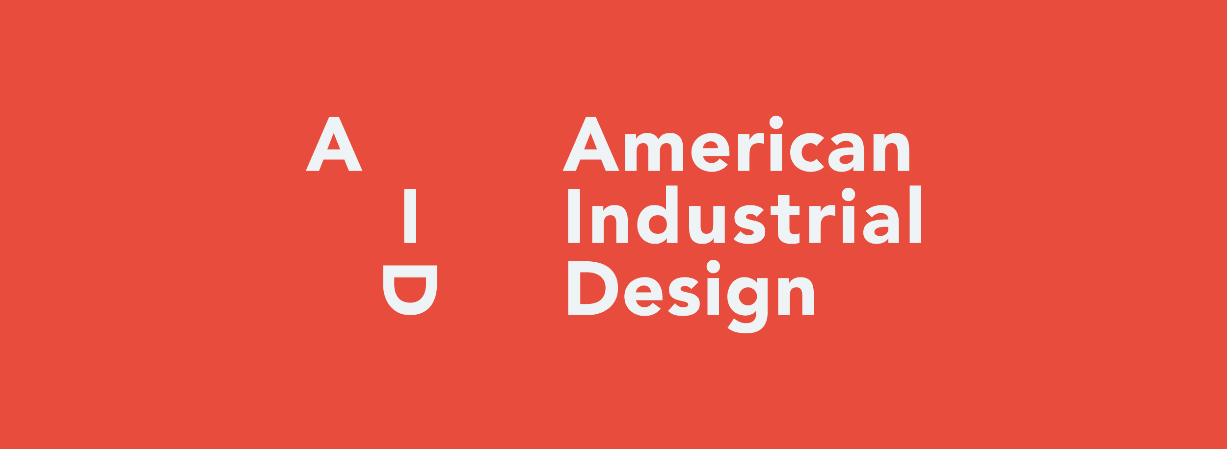 Playful type-based logo for American Industrial Design: sans serif letters A, I and D form a face in a subtle and creative way. © LET'S PANDA