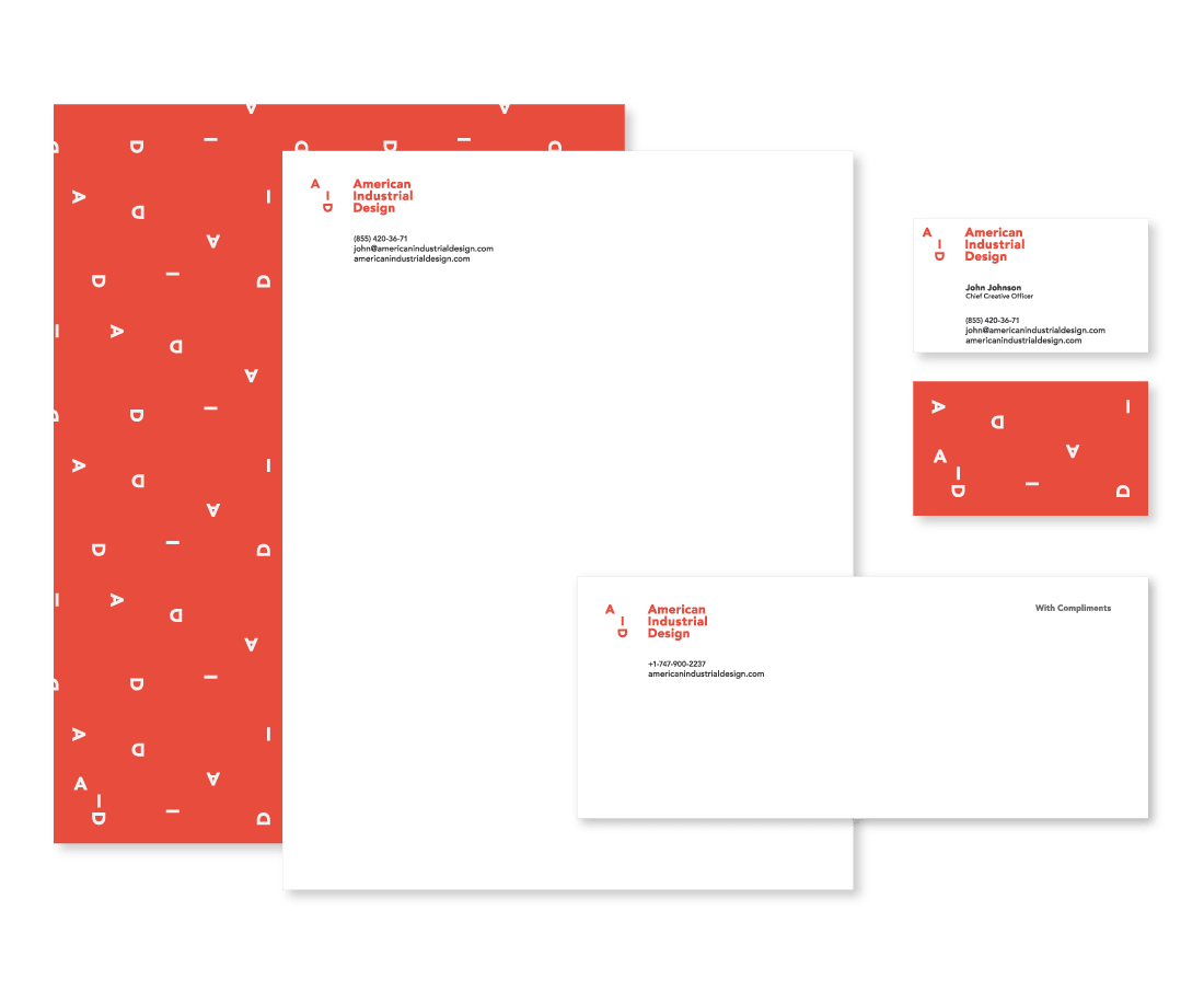 Bold and fresh brand identity includes minimalist business cards, letterhead and with compliments slip. © LET'S PANDA for AID