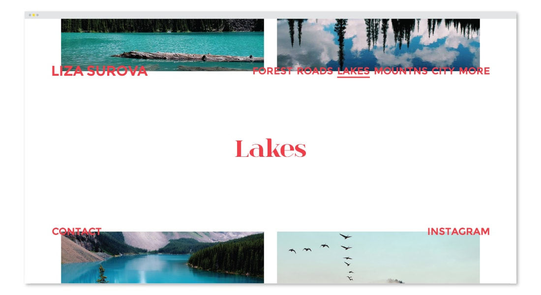 Liza Surova: Web Design and Development; Lakes Section