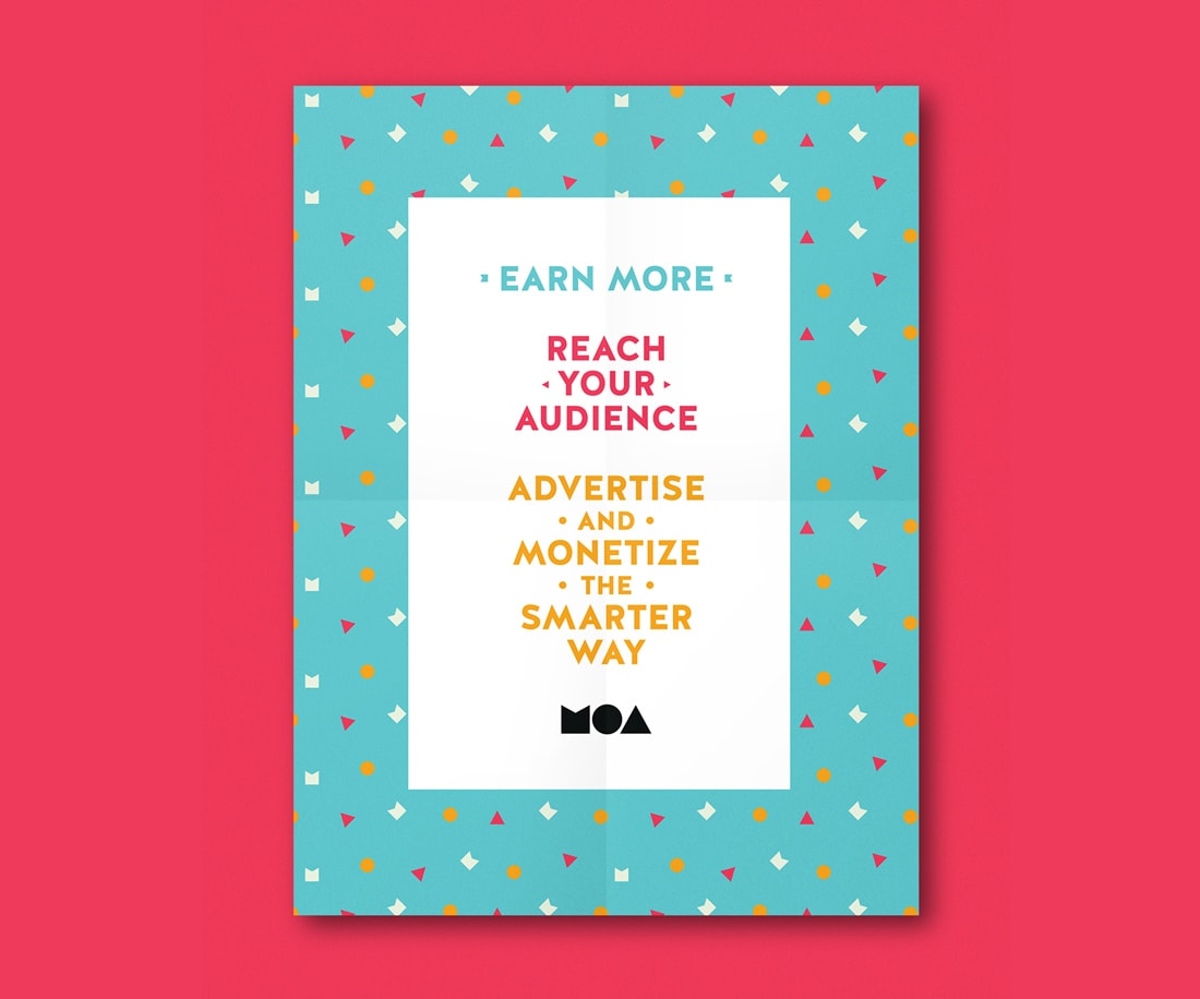 Mockup of a poster for MOA with a colourful pattern