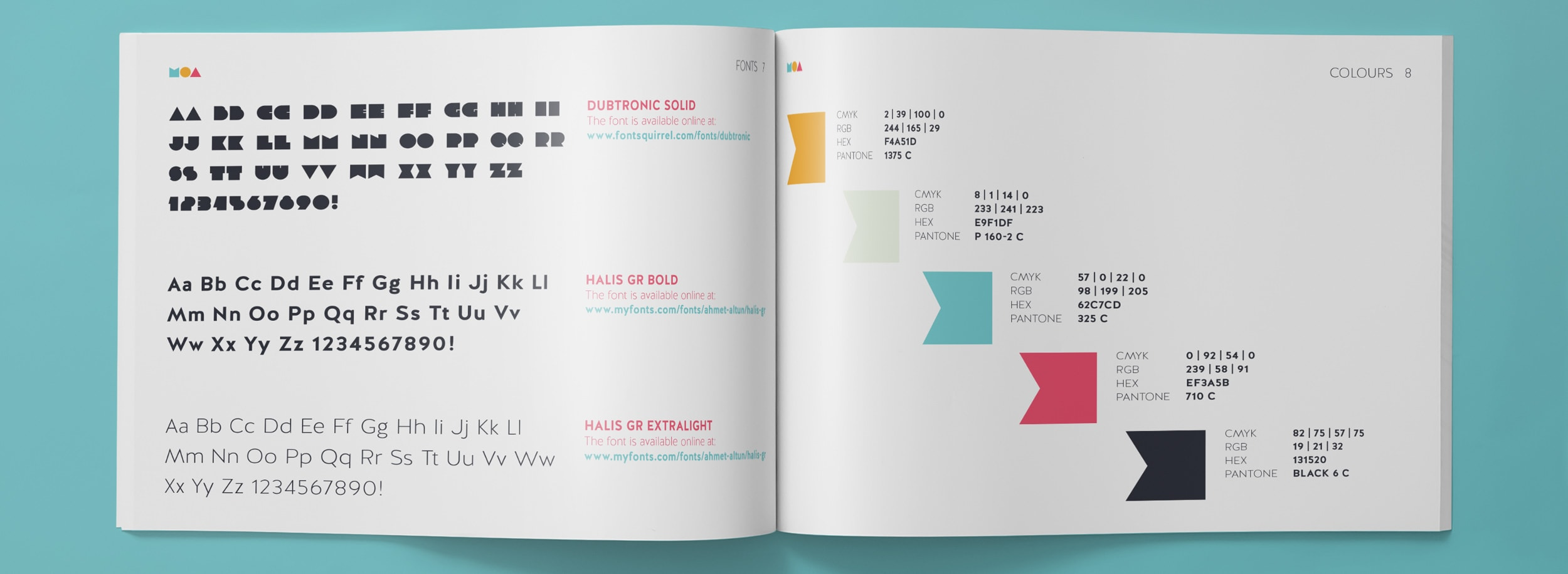 Moa Brand Guide: typography and the official bran colour palette © LET'S PANDA