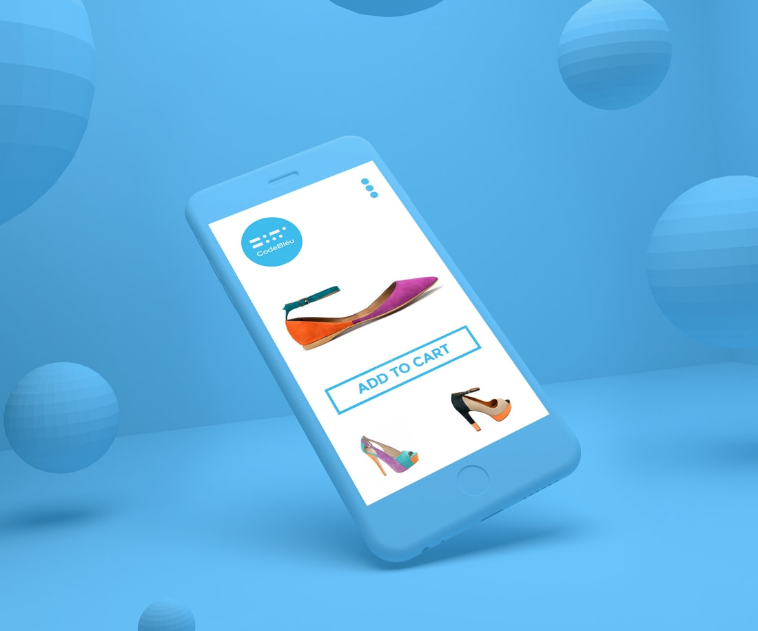 CodeBléu website on iPhone: one can order experimental shoes on the go. © LET'S PANDA
