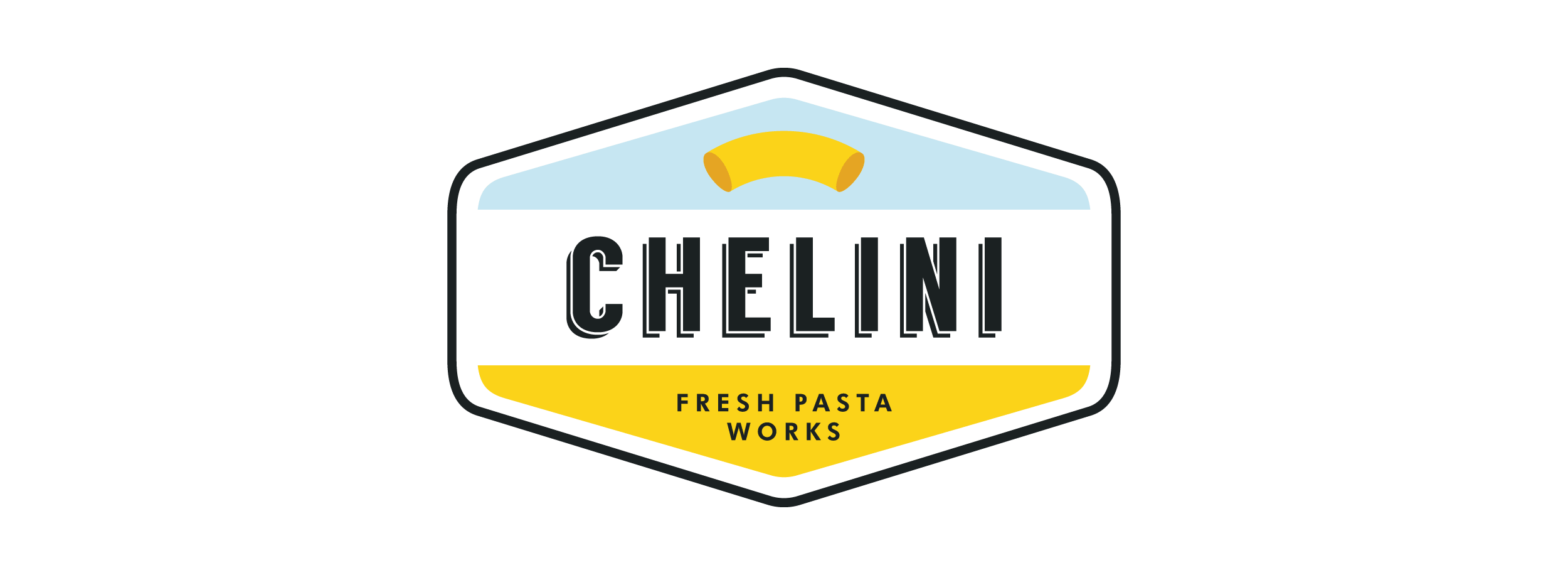 Chelini pasta logo: full badge in colour. © LET'S PANDA