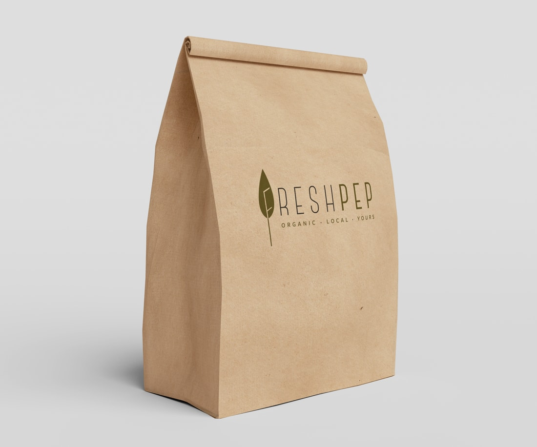 Craft recycled paper makes perfect sense for freshpep brand that's all about going green and organic. © LET'S PANDA