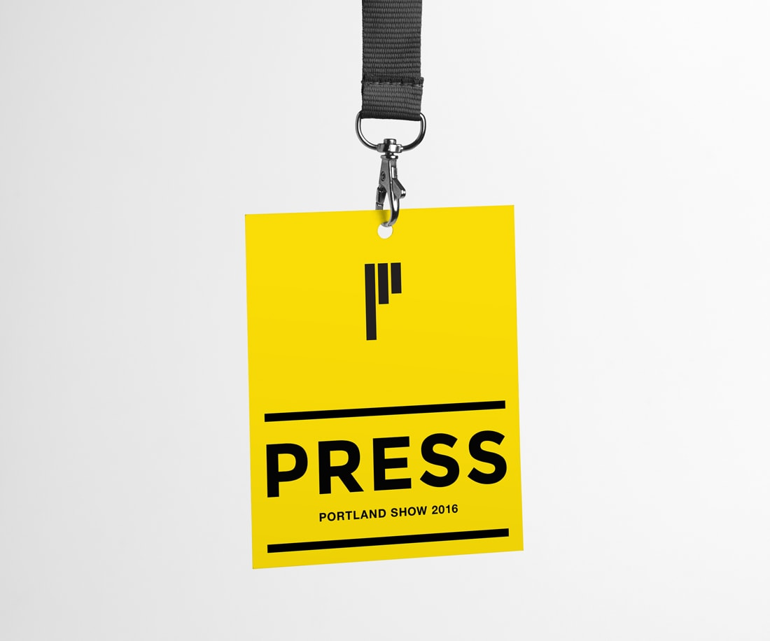 Super bright and bold yellow press ID card badge design for Pinnacle
