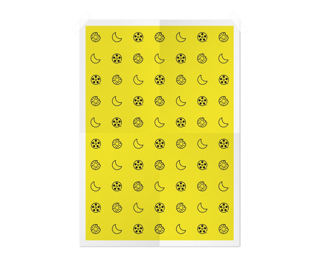 A pattern of unique attention-grabbing icons shown on a poster. © LET'S PANDA studio