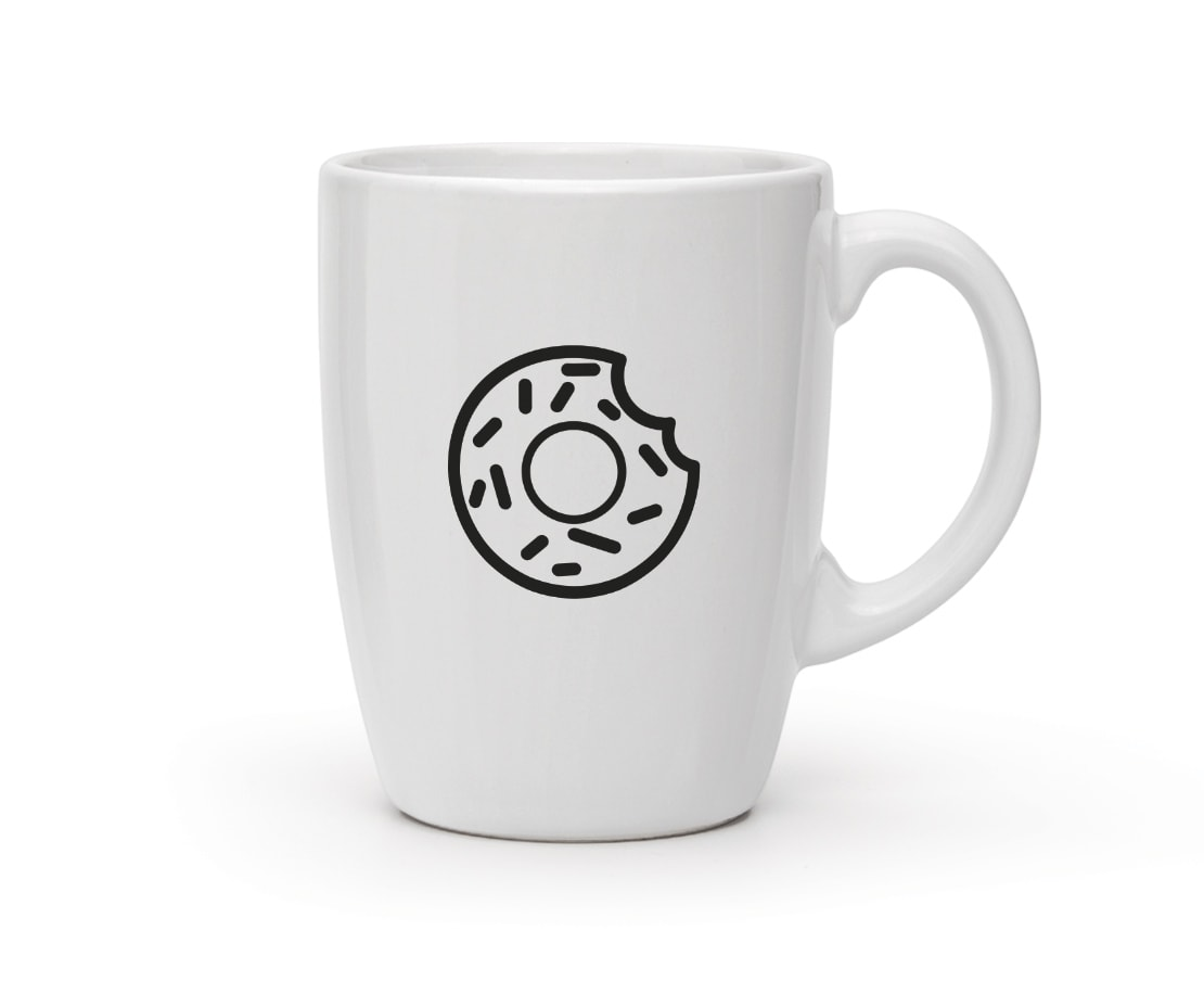 A cool mug with a doughnut icon. © LET'S PANDA