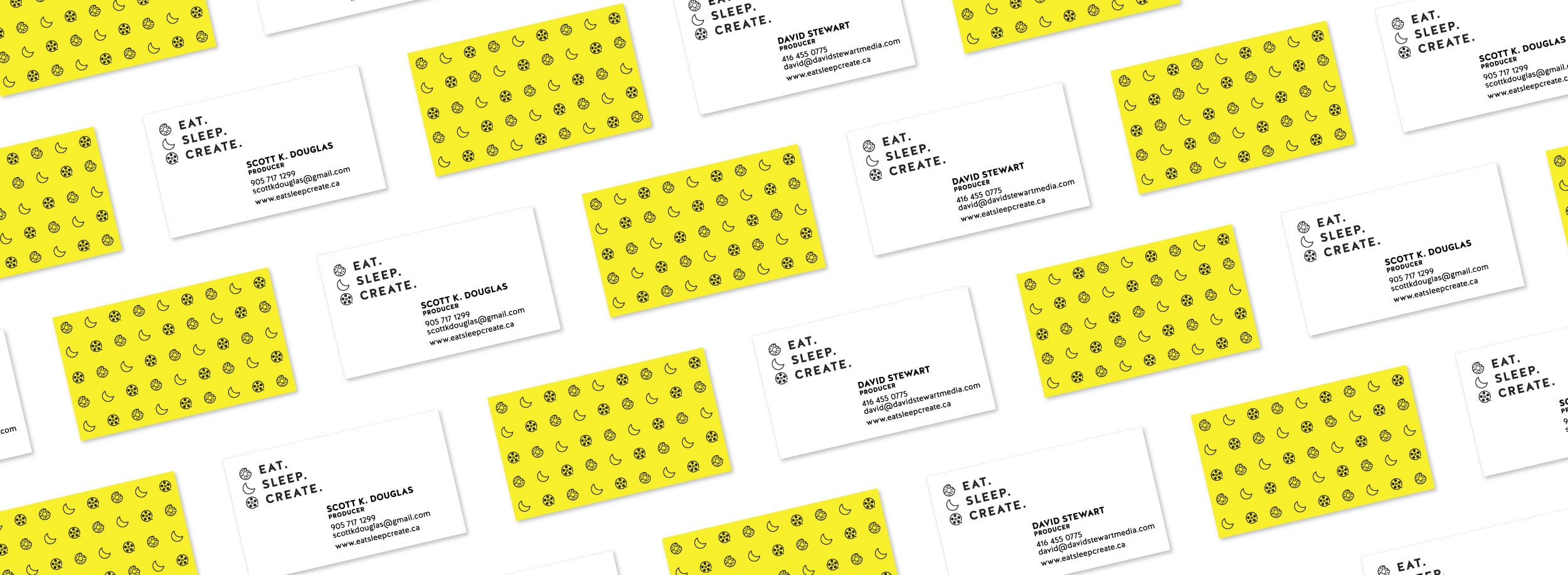 Fun to look at business cards: eat, sleep, create icons. © LET'S PANDA