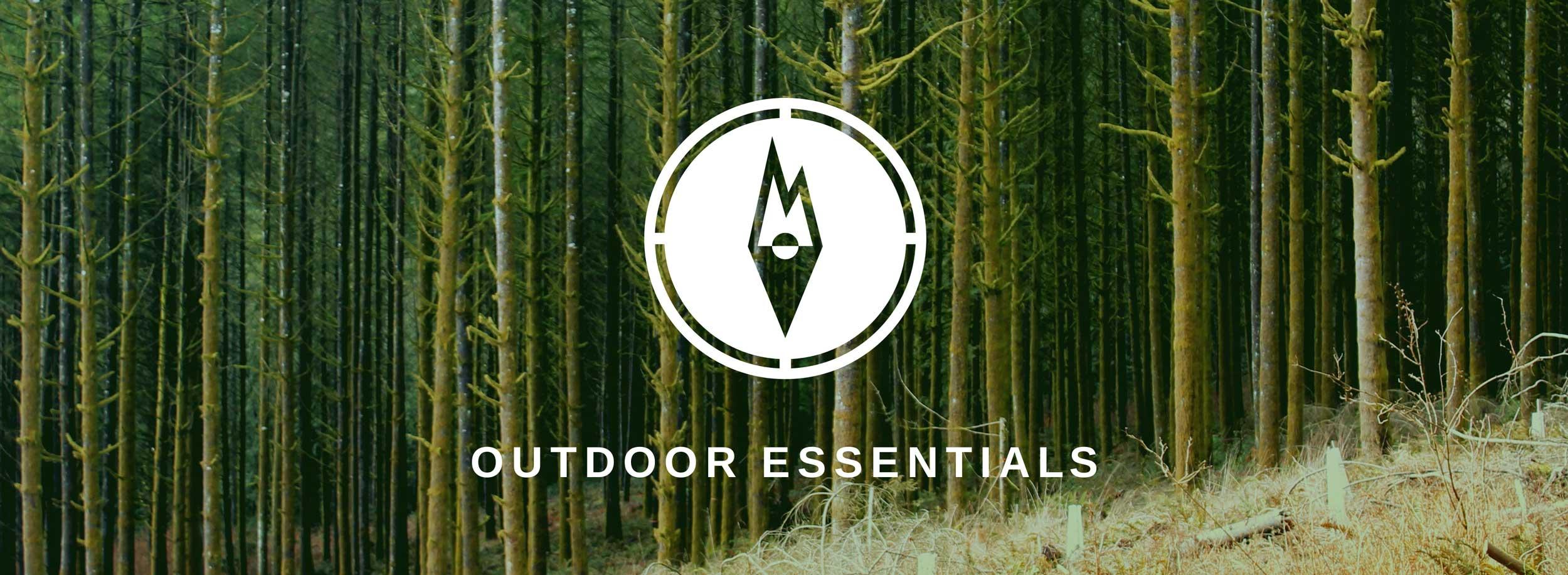 Mountain + Compass visuals form a unique symbol for Outdoor Essentials brand © LET'S PANDA