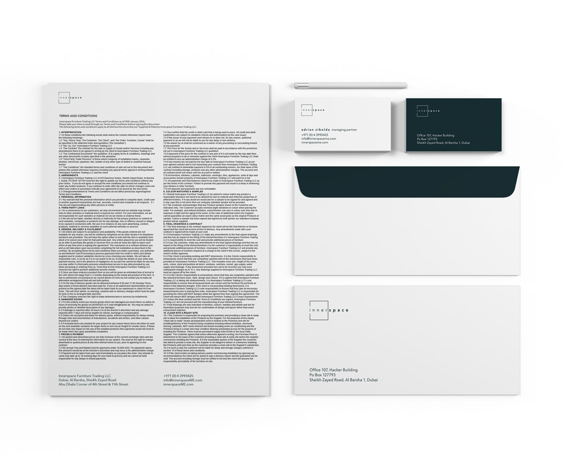 Letterhead, envelope and cards – brand identity stationery package for Innerspace. © LET'S PANDA
