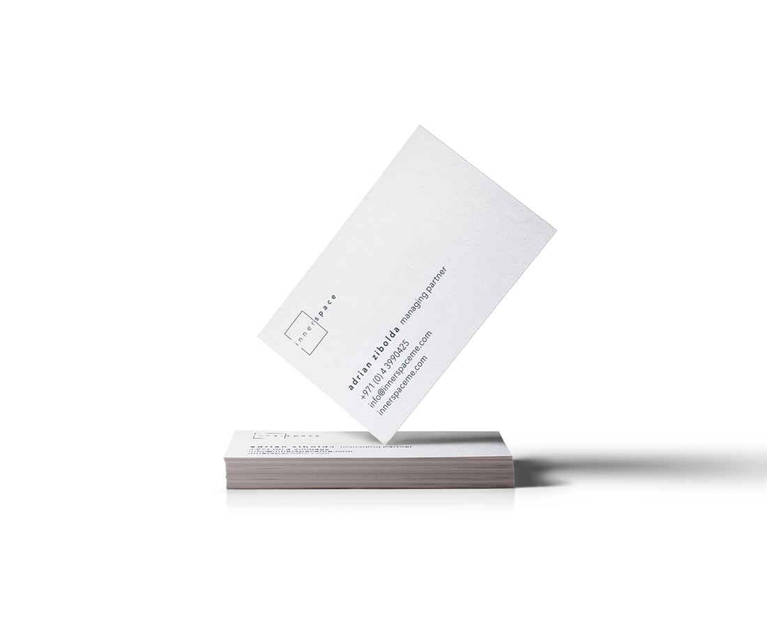 Business cards design for innerspace; card stock in matte finish. © LET'S PANDA