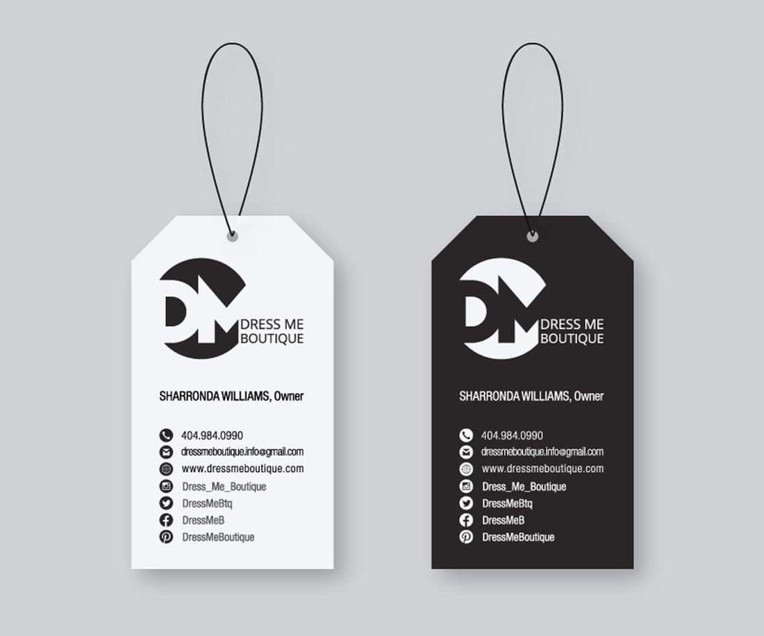 Unique business card design for Dress Me Boutique. © LET'S PANDA