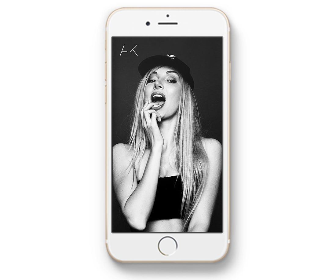Anna Kalita: AK symbol mockup on iPhone screen. © LET'S PANDA