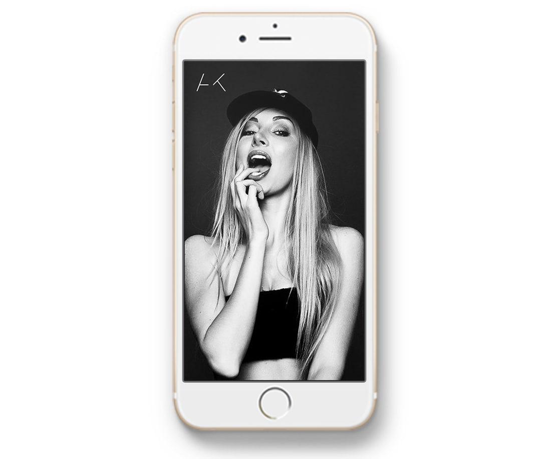 Anna Kalita: AK symbol mockup on iPhone screen. © LET'S PANDA
