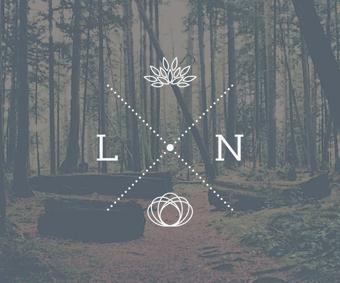 LN crest on a photo background (rainforest). © LET'S PANDA