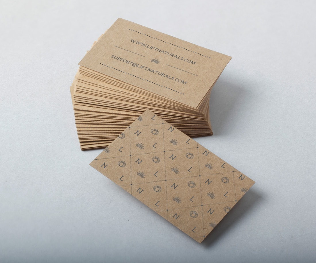 Business cards design for Lift Naturals; brown craft paper. © LET'S PANDA