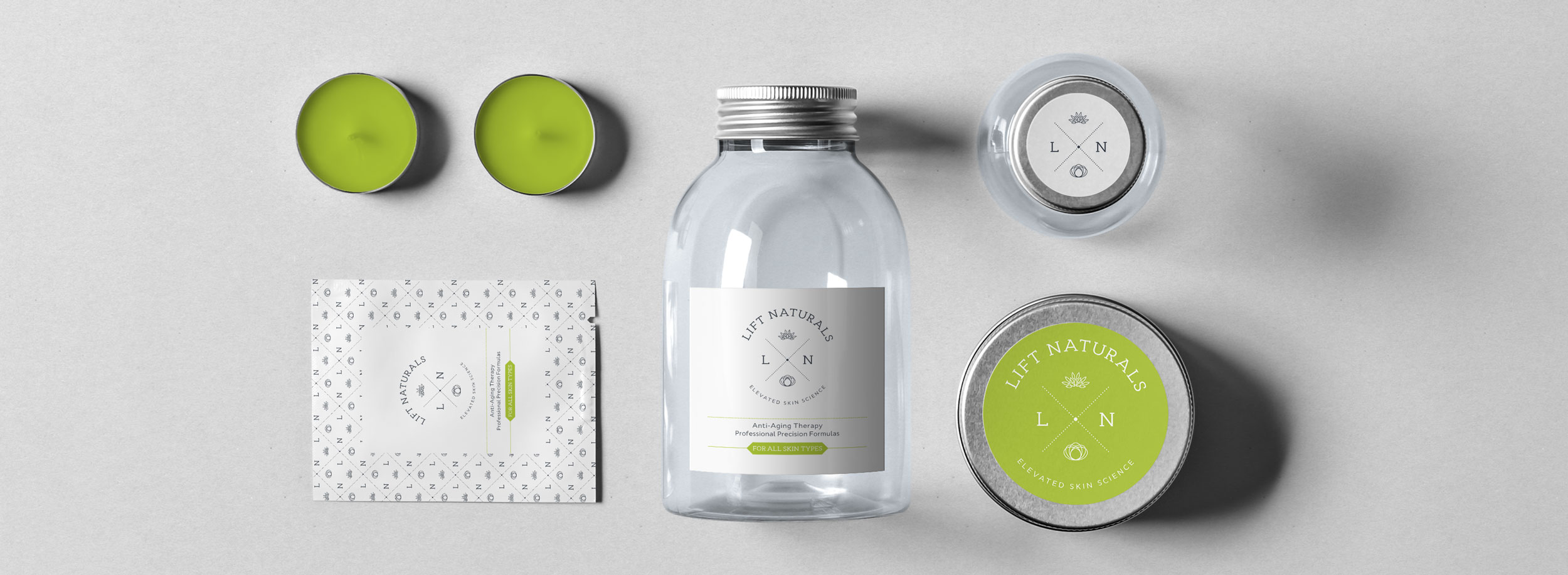 Sophisticated, clean and nature-inspired packaging set for Lift Naturals © LET'S PANDA