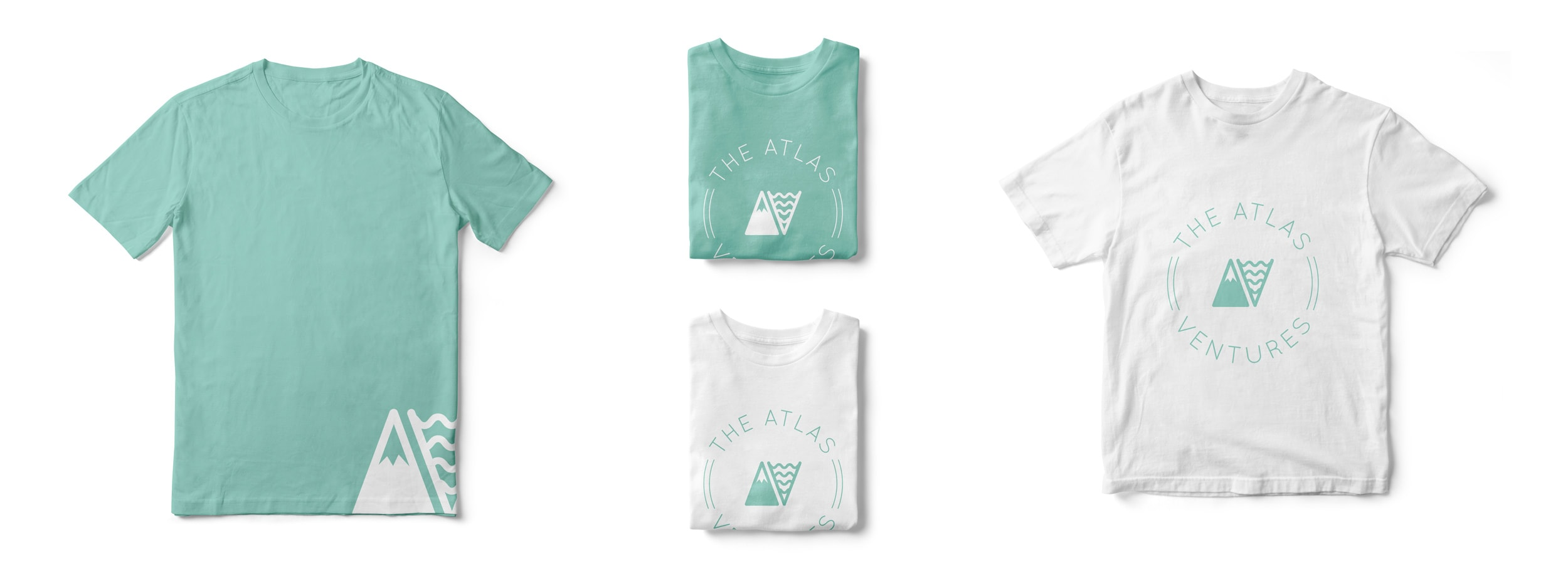Atlas Venture branded t-shirts in white and teal. © LET'S PANDA, Vancouver
