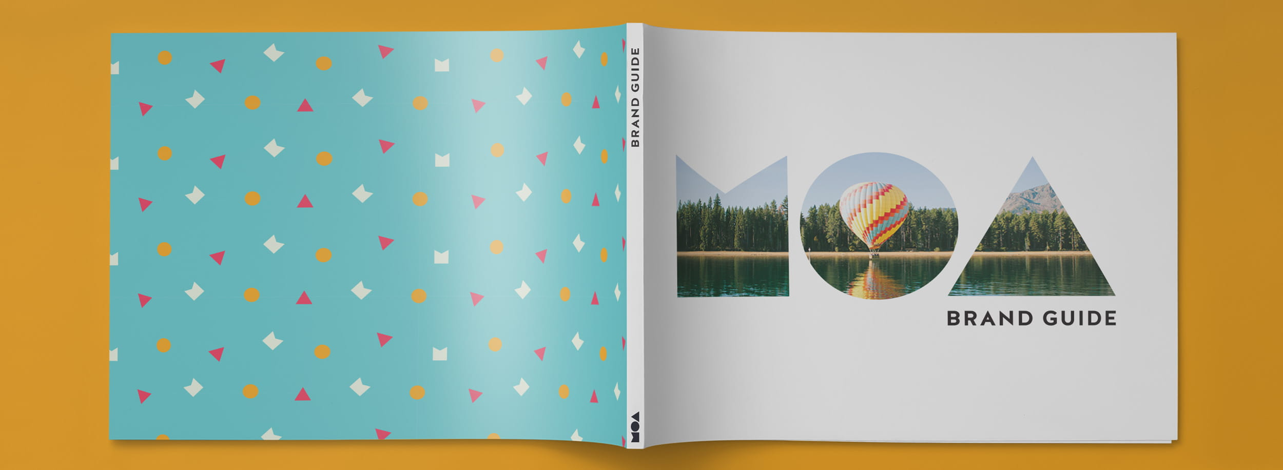 Brandbook design for MOA: front and back covers