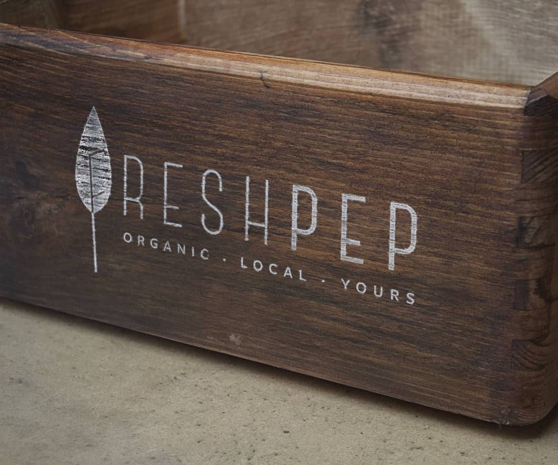 Freshpep product vintage box package for produce