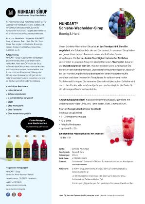 PDF | DIN-A4 | Datenblatt | MUNDART Schlehe-Wacholder-Sirup