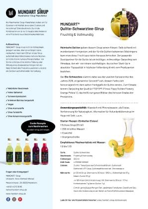 PDF | DIN-A4 | Datenblatt | MUNDART Quitte-Schwarztee-Sirup