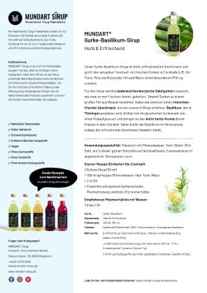 PDF | DIN-A4 | Datenblatt | MUNDART Gurke-Basilikum-Sirup