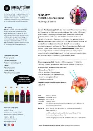 PDF | DIN-A4 | Datenblatt | MUNDART Pfirsich-Lavendel-Sirup